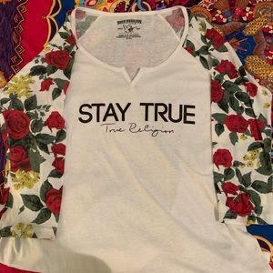 True Religion World Tour floral red/white tee.